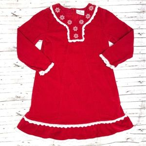 HANNA ANDERSON Red Corduroy Snowflake Dress 120
